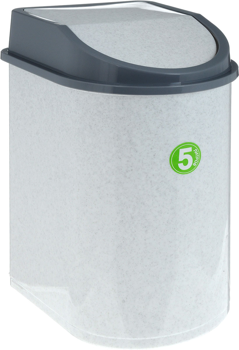 Контейнер для мусора Idea, цвет: мраморный, серый, 5 л ковш idea деко розы 1 5 л