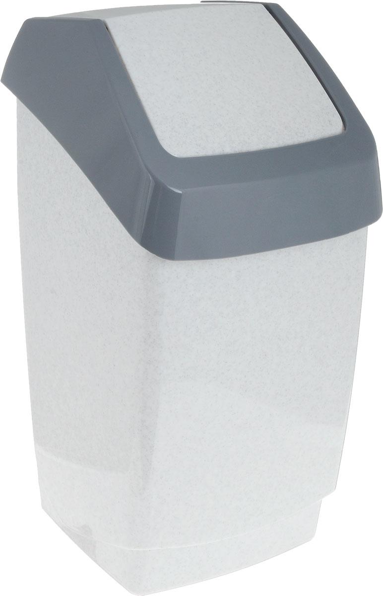 Контейнер для мусора Idea Хапс, цвет: мраморный, серый, 7 л контейнер для хранения idea деко бомбы 10 л