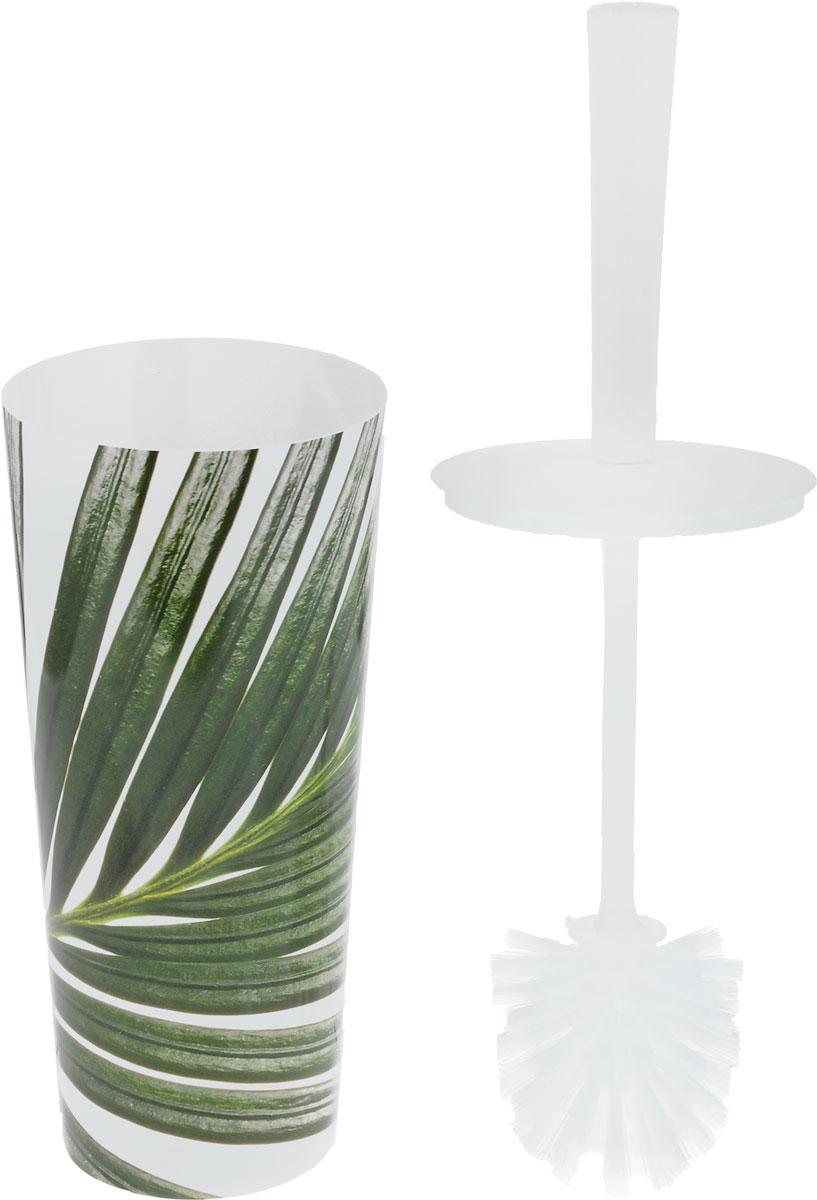 """Ершик для унитаза Idea """"Стар деко. Пальма"""" выполнен из  пластика с жестким ворсом. Он хранится в специальной  подставке, а также оснащен крышкой, которая плотно  прилегает к подставке. Ерш отлично чистит поверхность, а  грязь с него легко смывается водой. Стильный дизайн изделия притягивает взгляд и прекрасно  подойдет к интерьеру туалетной комнаты. Длина ершика (с ручкой): 35 см.  Размер рабочей части ершика: 7 х 7 х 8 см. Размер подставки: 11 х 11 х 24 см."""