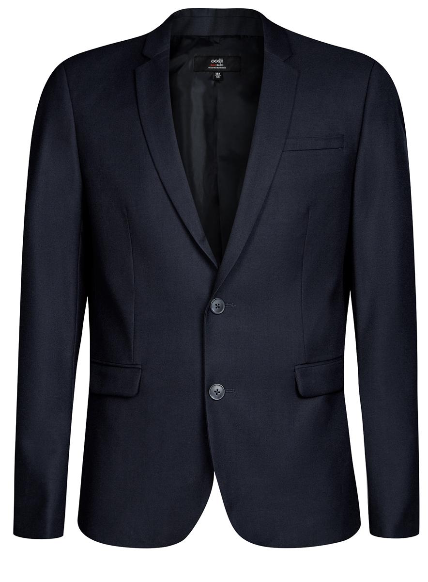 Пиджак мужской oodji Basic, цвет: темно-синий. 2B420016M/46317N/7900N. Размер 48-182 (48-182)2B420016M/46317N/7900NПиджак мужской от oodji на подкладе выполнен из полиэстера с добавлением вискозы. Модель с длинными рукавами и лацканами застегивается на пуговицы и дополнена карманами.
