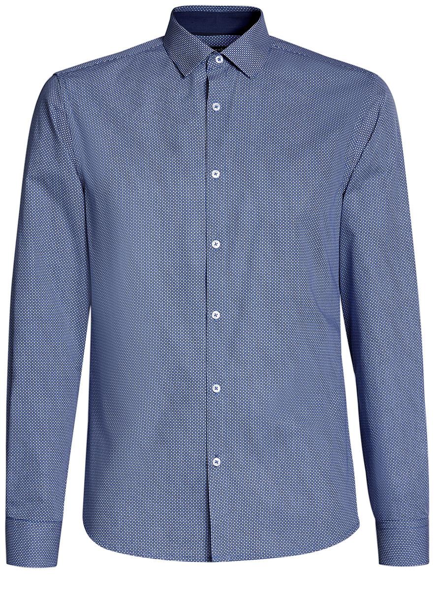Рубашка мужская oodji Lab, цвет: темно-синий, синий. 3L110241M/19370N/7975G. Размер 39-182 (46-182)3L110241M/19370N/7975GМужская рубашка от oodji выполнена из натурального хлопка. Модель с длинными рукавамизастегивается на пуговицы.