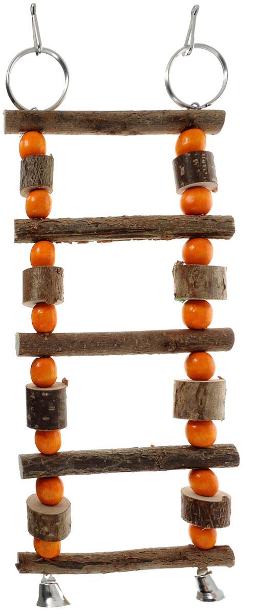 Игрушка для птиц Zoobaloo Лесенка бочонки с бусинками, 22 х 10 х 2 см5353Игрушка Zoobaloo Лесенка бочонки с бусинками предназначена для птиц. Изделие изготовлено из дерева и металла.Лесенка снабжена специальными кольцами для фиксации в клетке и двумя колокольчиками. Такая игрушка не даст вашему любимцу заскучать.