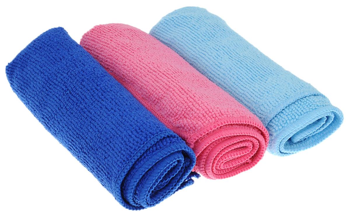 Набор салфеток для уборки Sol, из микрофибры, цвет: розовый, синий, голубой, 30 x 30 см, 3 шт346000Набор салфеток Sol выполнен из микрофибры. Микрофибра - это ткань из тонких микроволокон, которая эффективно очищает поверхности благодаря капиллярному эффекту между ними. Такая салфетка может использоваться как для сухой, так и для влажной уборки. Деликатно очищает любые поверхности, не оставляя следов и разводов. Идеально подходит для протирки полированной мебели. Сохраняет свои свойства после стирки. Размер салфетки: 30 х 30 см.