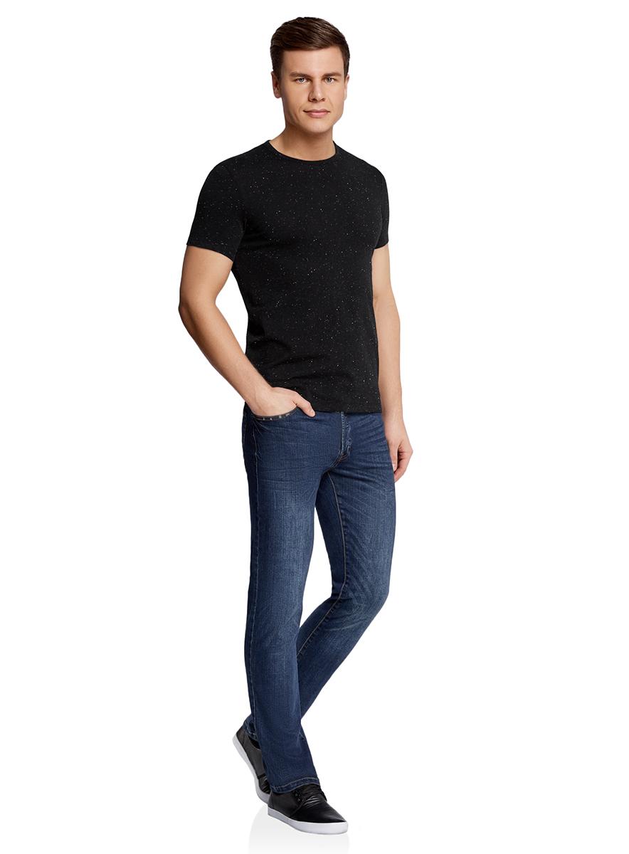 Футболка мужская oodji Lab, цвет: черный меланж. 5L611328M/46257N/2900M. Размер L (52/54)5L611328M/46257N/2900MБазовая футболка с круглым вырезом горловины и короткими рукавами выполнена из натурального хлопка.