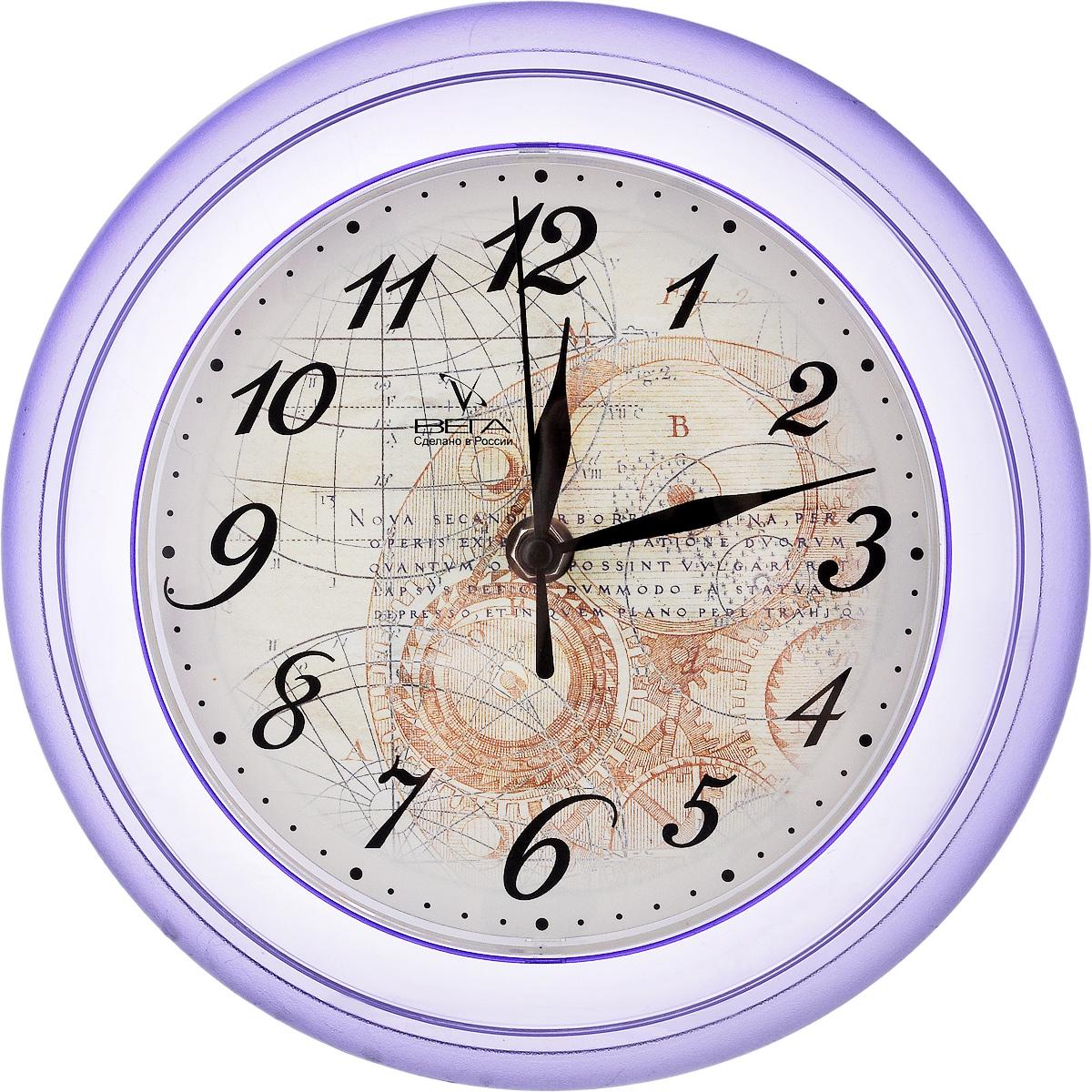 Часы настенные Вега Географические, диаметр 22,5 смП6-13-13Настенные кварцевые часы Вега Географические в классическом дизайне,изготовленные из пластика, прекрасно впишутся в интерьервашего дома. Круглые часы имеют три стрелки: часовую,минутную и секундную, циферблат защищен прозрачным стеклом.Часы работают от 1 батарейки типа АА напряжением 1,5 В (не входит в комплект).Диаметр часов: 22,5 см.