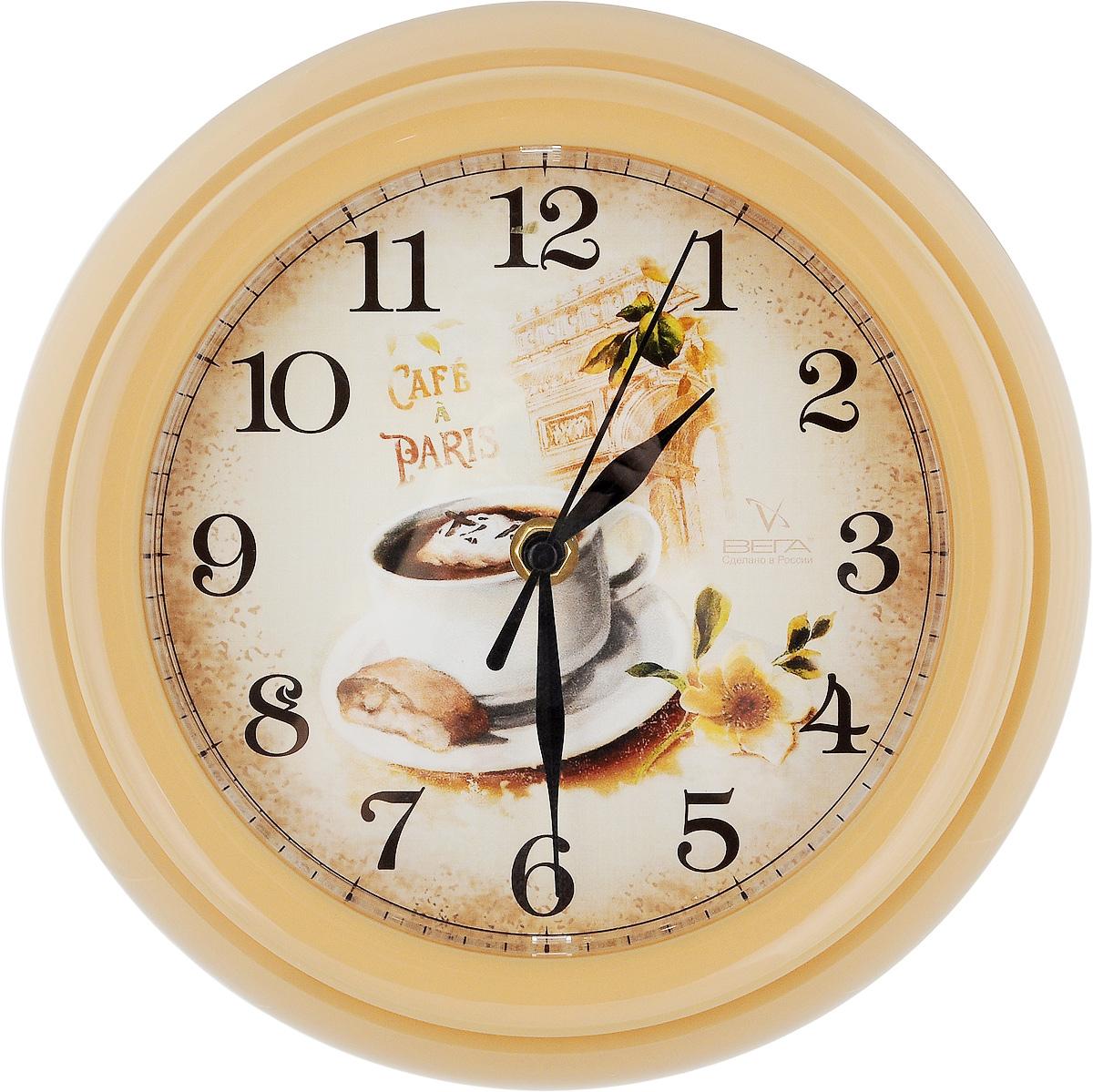 Часы настенные Вега Кофе, диаметр 22,5 см часы настенные вега классика бежевая диаметр 28 5 см