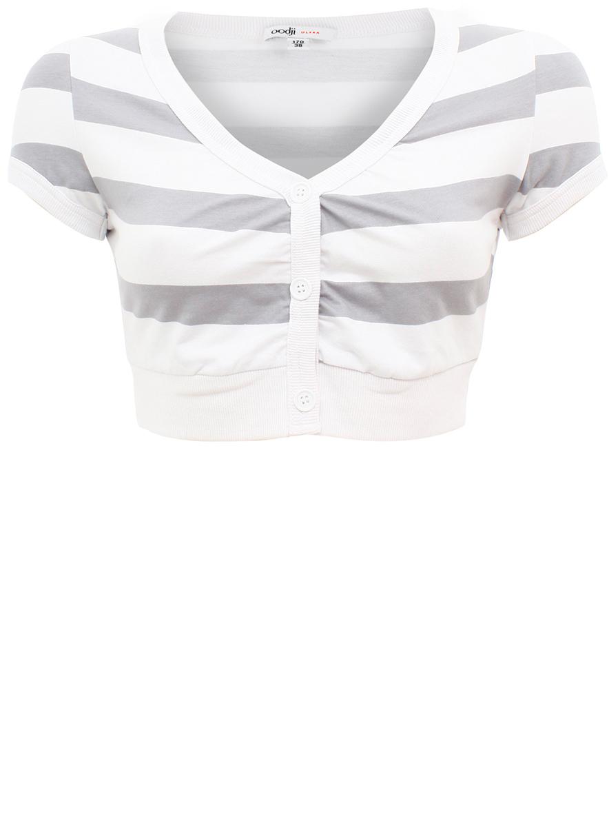 Болеро oodji Ultra, цвет: белый, светло-серый. 11300360/24834/1020S. Размер 40-170 (46-170) болеро lina болеро на пуговицах