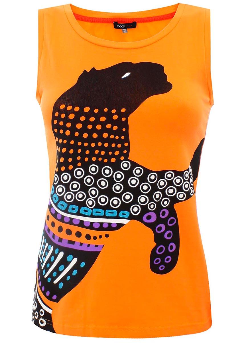 Майка женская oodji Ultra, цвет: оранжевый, черный. 11305145M/24252/5529P. Размер 34-170 (40-170)11305145M/24252/5529PМайка женская oodji Ultra выполнена из высококачественного материала. Модель с круглым вырезом горловины оформлена оригинальным принтом.