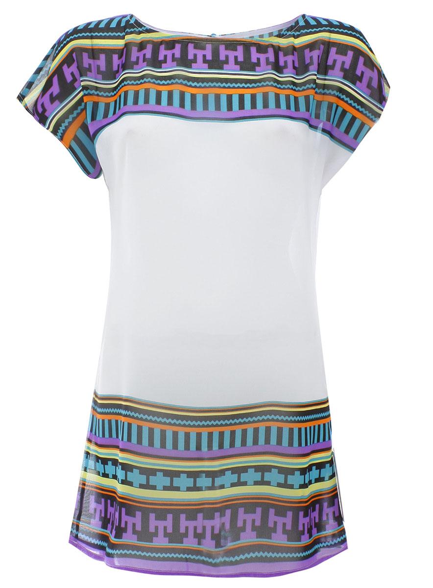 Купить Блузка женская oodji Ultra, цвет: белый, фиолетовый. 11400353M/31667/1083G. Размер 36-170 (42-170)