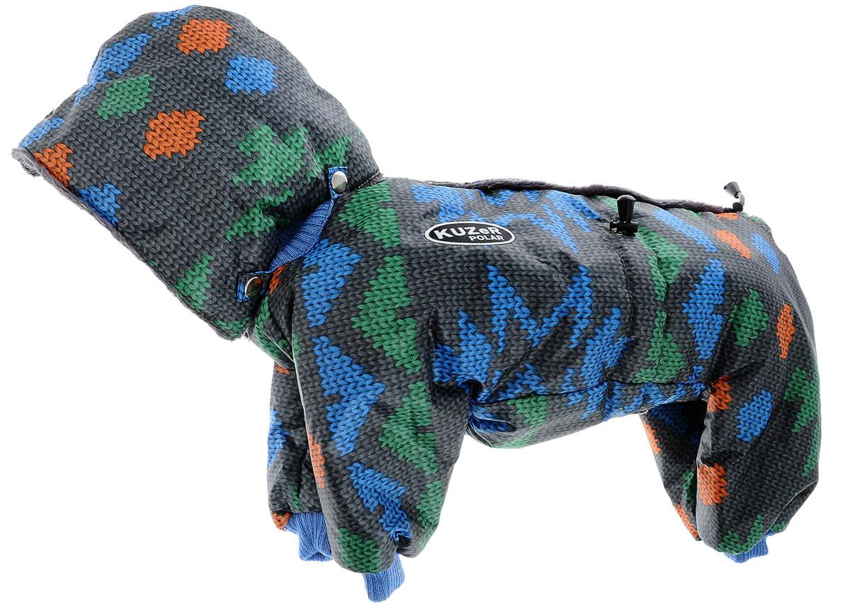 Комбинезон для собак Kuzer-Moda Полярник, зимний, унисекс, цвет: серый, зеленый, синий, оранжевый. Размер MKZ001806Зимний комбинезон для собак Kuzer-Moda Полярник отлично подойдет для прогулок в холодное время года.Комбинезон изготовлен из плащевки, защищающей от ветра и снега, с утеплителем из синтепона, который сохранит тепло даже в сильные морозы. Комбинезон с капюшоном застегивается на кнопки, благодаря чему его легко надевать и снимать. Капюшон пристегивается при помощи кнопок. Низ рукавов и брючин оснащен трикотажными манжетами, которые мягко обхватывают лапки, не позволяя просачиваться холодному воздуху. На пояснице комбинезон затягивается на шнурок-кулиску.Благодаря такому комбинезону простуда не грозит вашему питомцу.Длина по спинке 32 см.Одежда для собак: нужна ли она и как её выбрать. Статья OZON Гид