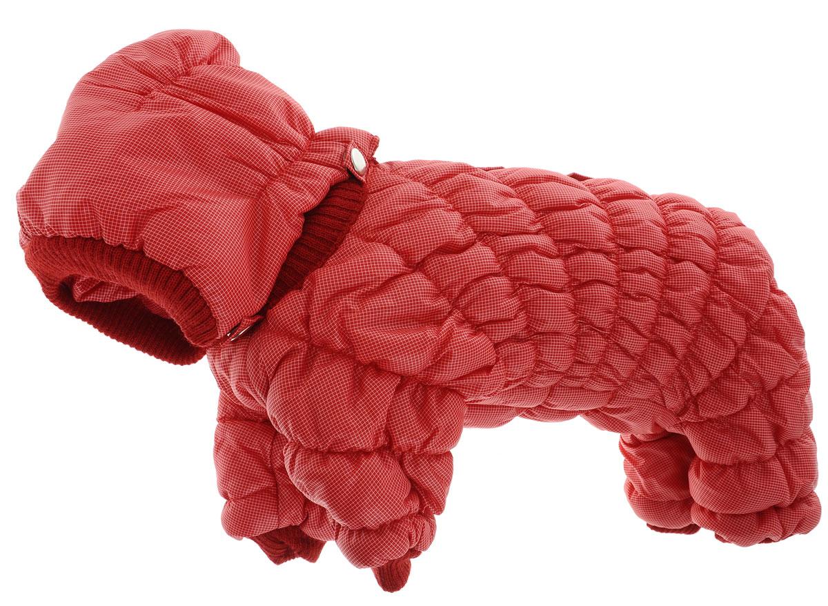 Комбинезон для собак Kuzer-Moda Дутик, зимний, унисекс, цвет: красный. Размер XSKZ001187Зимний комбинезон для собак Kuzer-Moda Дутик отлично подойдет для прогулок в холодное время года.Комбинезон изготовлен из полиэстера, защищающего от ветра и снега, с утеплителем из синтепона, который сохранит тепло даже в сильные морозы. Комбинезон с капюшоном застегивается на кнопки, благодаря чему его легко надевать и снимать. Капюшон пристегивается при помощи кнопок. Низ рукавов и брючин оснащен трикотажными манжетами, которые мягко обхватывают лапки, не позволяя просачиваться холодному воздуху. На пояснице комбинезон затягивается на шнурок-кулиску.Благодаря такому комбинезону простуда не грозит вашему питомцу.Длина по спинке 25 см.Одежда для собак: нужна ли она и как её выбрать. Статья OZON Гид