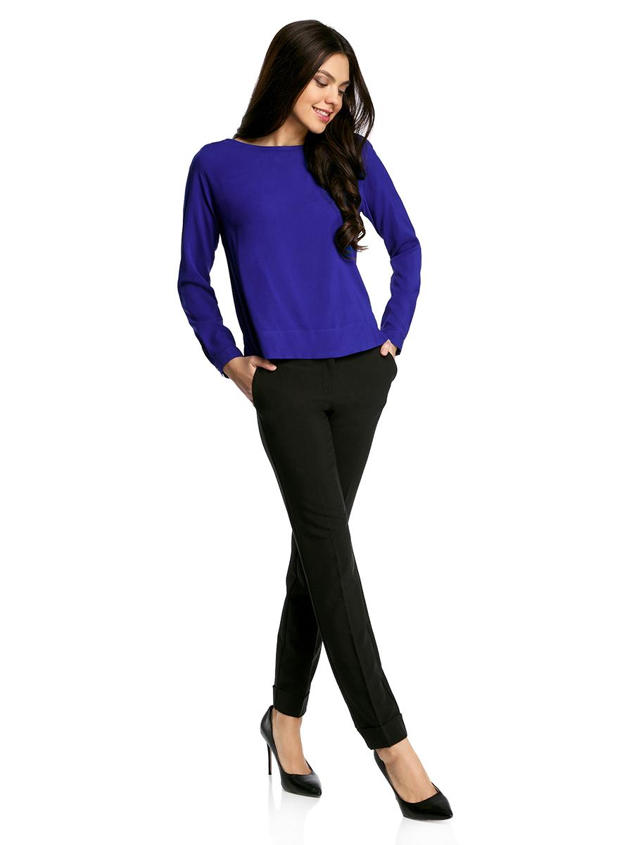 Купить Блузка женская oodji Ultra, цвет: синий. 11411135B/14897/7500N. Размер 34-170 (40-170)