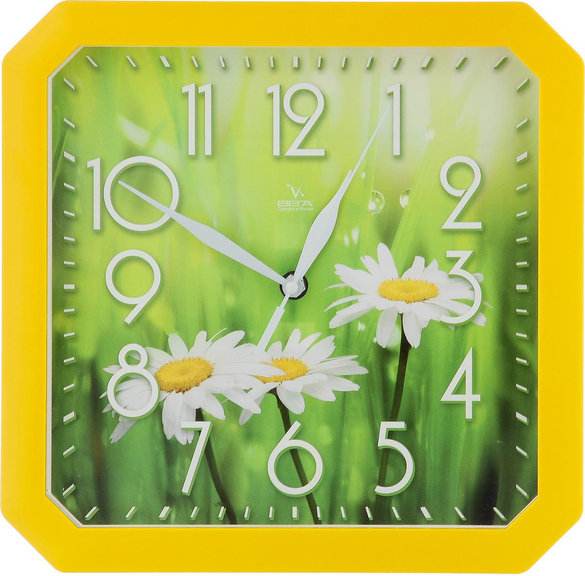 Часы настенные Вега Три ромашки, 28 х 28 х 4 смП4-2/7-84Настенные кварцевые часы Вега Три ромашки, изготовленные из пластика, прекрасно впишутся в интерьервашего дома. Часы имеют три стрелки: часовую,минутную и секундную, циферблат защищен прозрачным стеклом.Часы работают от 1 батарейки типа АА напряжением 1,5 В (не входит в комплект).