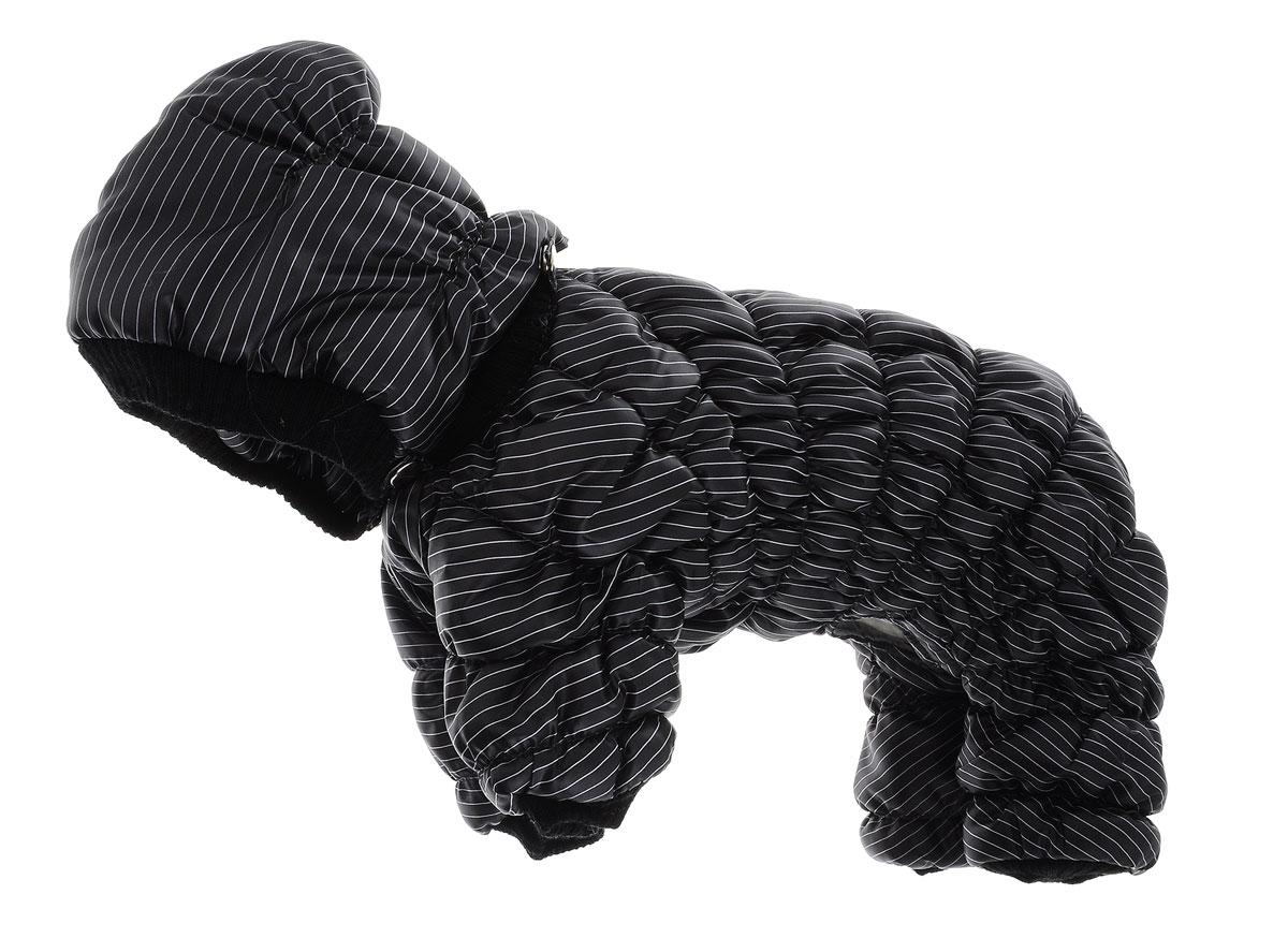 Комбинезон для собак Kuzer-Moda Дутик, зимний, унисекс, цвет: черный, белый. Размер SKZ002492Комбинезон для собак Kuzer-Moda Дутик отлично подойдет для прогулок в зимнее время года.Комбинезон изготовлен из полиэстера, защищающего от ветра и снега, с утеплителем из синтепона, который сохранит тепло даже в сильные морозы. Комбинезон с капюшоном застегивается на кнопки, благодаря чему его легко надевать и снимать. Капюшон пристегивается также на кнопки. Низ рукавов и брючин оснащен трикотажными манжетами, которые мягко обхватывают лапки, не позволяя просачиваться холодному воздуху. На пояснице комбинезон затягивается на шнурок-кулиску.Благодаря такому комбинезону простуда не грозит вашему питомцу.Длина по спинке: 29 см.Одежда для собак: нужна ли она и как её выбрать. Статья OZON Гид