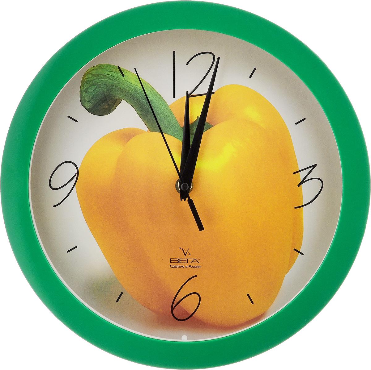 Часы настенные Вега Желтый перец, диаметр 28,5 смП1-3/7-28Настенные кварцевые часы Вега Желтый перец, изготовленные из пластика, прекрасно впишутся в интерьервашего дома. Круглые часы имеют три стрелки: часовую,минутную и секундную, циферблат защищен прозрачным стеклом.Часы работают от 1 батарейки типа АА напряжением 1,5 В (не входит в комплект).Диаметр часов: 28,5 см.