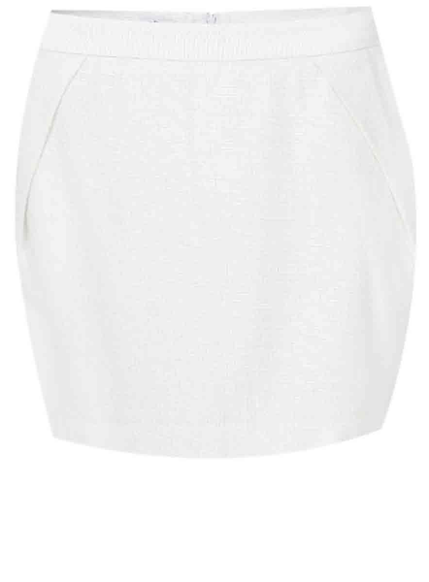 Юбка oodji Ultra, цвет: белый, серебряный металлик. 11600327/26361/1091X. Размер 40-170 (46-170)11600327/26361/1091XМодная мини-юбка оригинального кроя выполнена из высококачественного материала. Сзади модель застегивается на застежку-молнию.