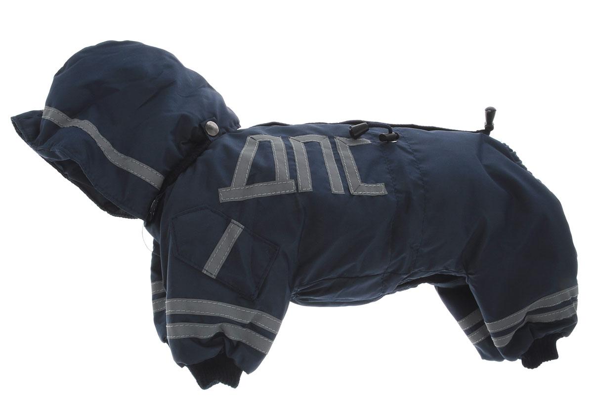 Комбинезон для собак Kuzer-Moda ДПС, для мальчика, утепленный, цвет: синий, серый. Размер SKZ003150Комбинезон для собак Kuzer-Moda ДПС стилизован под форму сотрудников автоинспекции. Изделие отлично подойдет для прогулок в прохладную погоду.Комбинезон изготовлен из прочной, ткани, которая сохранит тепло и обеспечит отличный воздухообмен. Комбинезон застегивается на кнопки, благодаря чему его легко надевать и снимать. Ворот, низ рукавов и брючин оснащены резинками, которые мягко обхватывают шею и лапки, не позволяя просачиваться холодному воздуху. Изделие снабжено светоотражающей лентой. На пояснице имеются затягивающиеся шнурки, которые также не позволяют проникнуть холодному воздуху.Благодаря такому комбинезону простуда не грозит вашему питомцу, и он не даст любимцу продрогнуть на прогулке.Одежда для собак: нужна ли она и как её выбрать. Статья OZON Гид