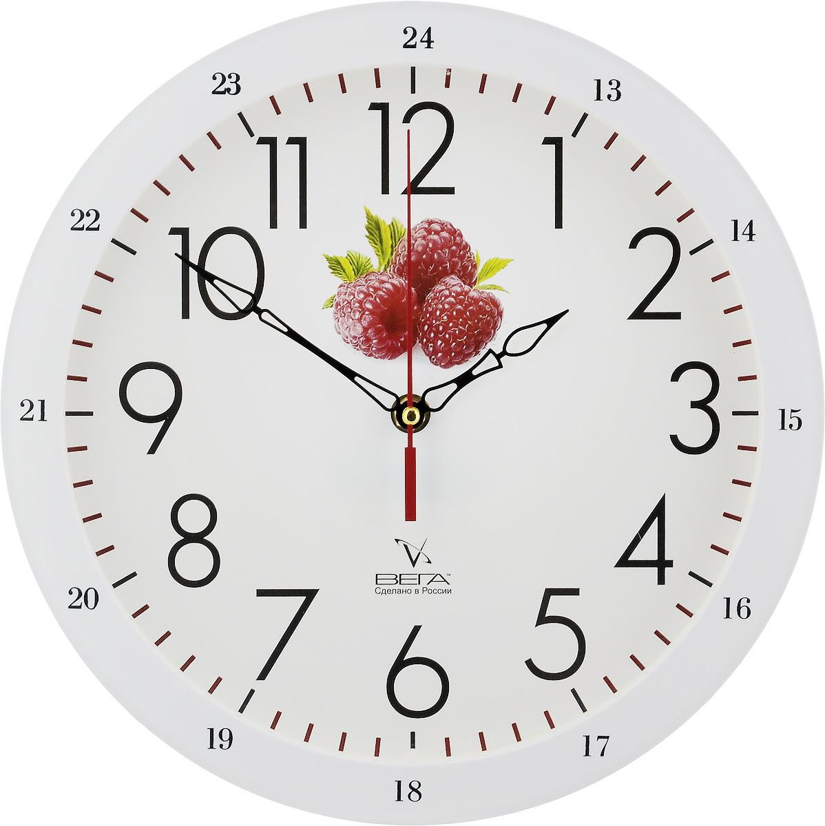 Часы настенные Вега Классика с малиной, диаметр 28,5 смП1-7619/7-31Настенные кварцевые часы Вега Классика с малиной, изготовленные из пластика, прекрасно впишутся в интерьервашего дома. Круглые часы имеют три стрелки: часовую,минутную и секундную, циферблат защищен прозрачным стеклом.Часы работают от 1 батарейки типа АА напряжением 1,5 В (не входит в комплект).Диаметр часов: 28,5 см.
