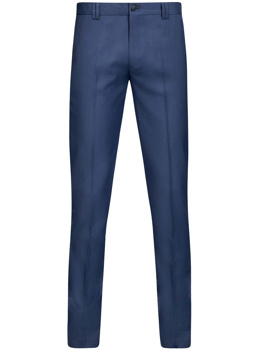 Брюки мужские oodji Basic, цвет: синий. 2B210016M/46317N/7500N. Размер 48-182 (56-182)2B210016M/46317N/7500NМужские брюки oodji Basic выполнены из высококачественного материала. Классическая модель стандартной посадки застегивается на пуговицу в поясе и ширинку на застежке-молнии. Пояс имеет шлевки для ремня. Спереди брюки дополнены втачными карманами, сзади - прорезными.