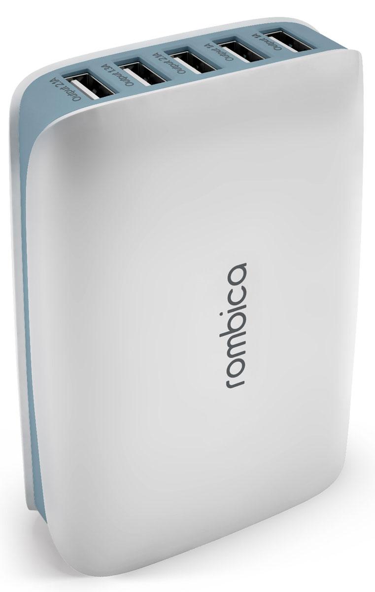 Rombica Neo C25 5xUSB, White сетевое зарядное устройствоPSU-0025Сетевое зарядное устройство Rombica Neo C25 совместимо с любым современным портативным устройством (телефоном, смартфоном, планшетным ПК). Имеется возможность заряда пяти различных устройств одновременно. Данная модель работает в бытовых сетях переменного тока.Мощность USB 1/2: 1AМощность USB 3/5: 2.1AМощность USB 4: 1.3A