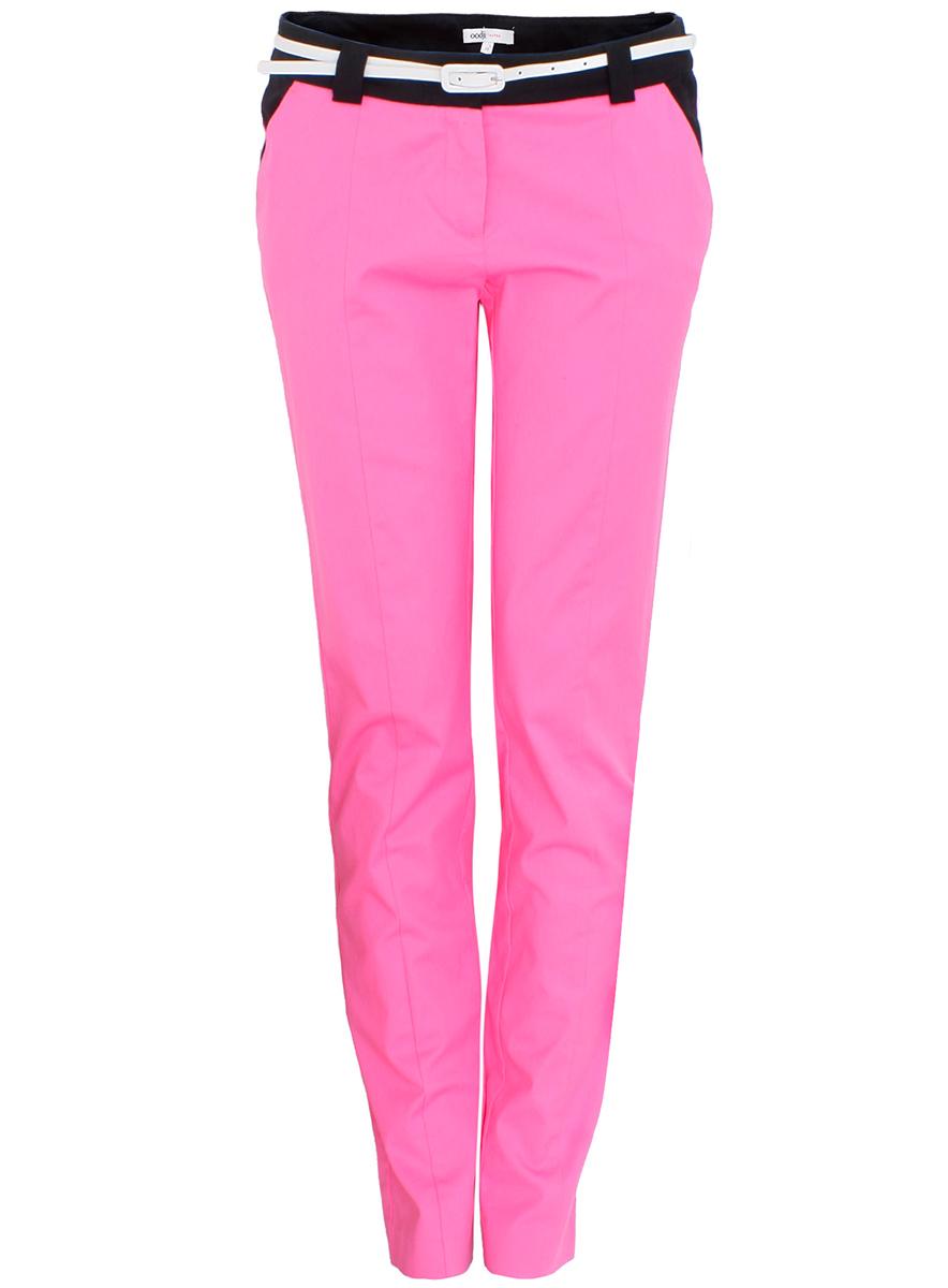 Брюки женские oodji Ultra, цвет: ярко-розовый, черный. 11707090/19887/4D29B. Размер 42 (48-164) брюки женские oodji ultra цвет ярко розовый черный 11707090 19887 4d29b размер 40 170 46 170