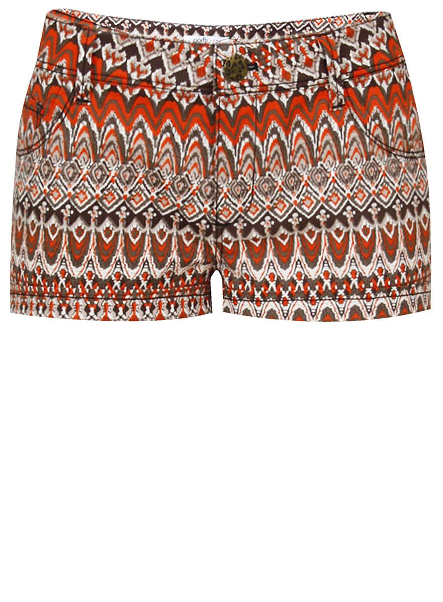 Шорты женские oodji Ultra, цвет: темно-бежевый, темно-оранжевый. 11801074/24770/3559E. Размер 42-164 (48-164)