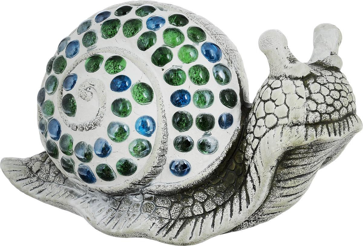 Фигурка декоративная Лилло Улитка, цвет: серый, голубой, зеленый, длина 23 смFLY01160Декоративная фигурка Улитка станет необычным аксессуаром для вашего интерьера и создаст незабываемую атмосферу. Фигурка изготовлена из керамики в виде улитки. Эта очаровательная вещь послужит отличным подарком близкому человеку, родственнику или другу, а также подарит приятные мгновения и окунет вас в лучшие воспоминания.