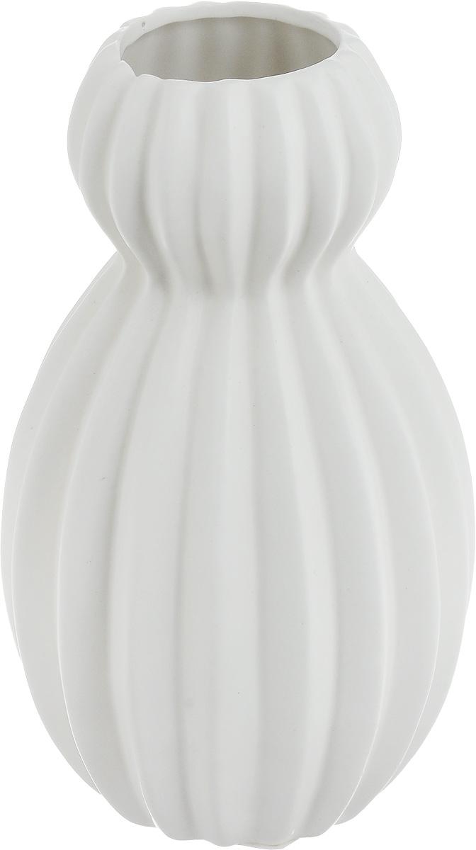 Ваза декоративная Феникс-Презент, цвет: белый, высота 18 см