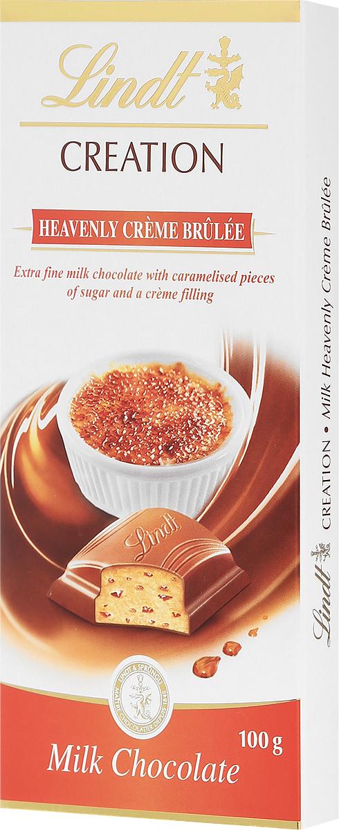 Lindt Creation молочный шоколад с кусочками карамели и начинкой крем-брюле, 100 г lindt excellence белый шоколад с ванилью 100 г