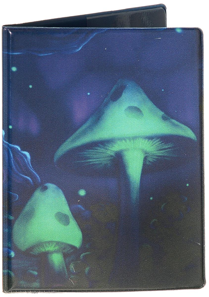 Обложка для паспорта Эврика Грибы, цвет: фиолетовый. 94377ПВХ (поливинилхлорид)Обложка для паспорта от Evruka- оригинальный и стильный аксессуар, который придется по душе истинным модникам и поклонникам интересного и необычного дизайна.Качественная обложка выполнена из легкого и прочного ПВХ, который надежно защищает важные документы от пыли и влаги. Рисунок нанесён специальным образом и защищён от стирания. Изделие раскладывается пополам. Внутри размещены два накладных кармашка из прозрачного ПВХ. Простая, но в то же время стильная обложка для паспорта определенно выделит своего обладателя из толпы и непременно поднимет настроение. А яркий современный дизайн, который является основной фишкой данной модели, будет радовать глаз.