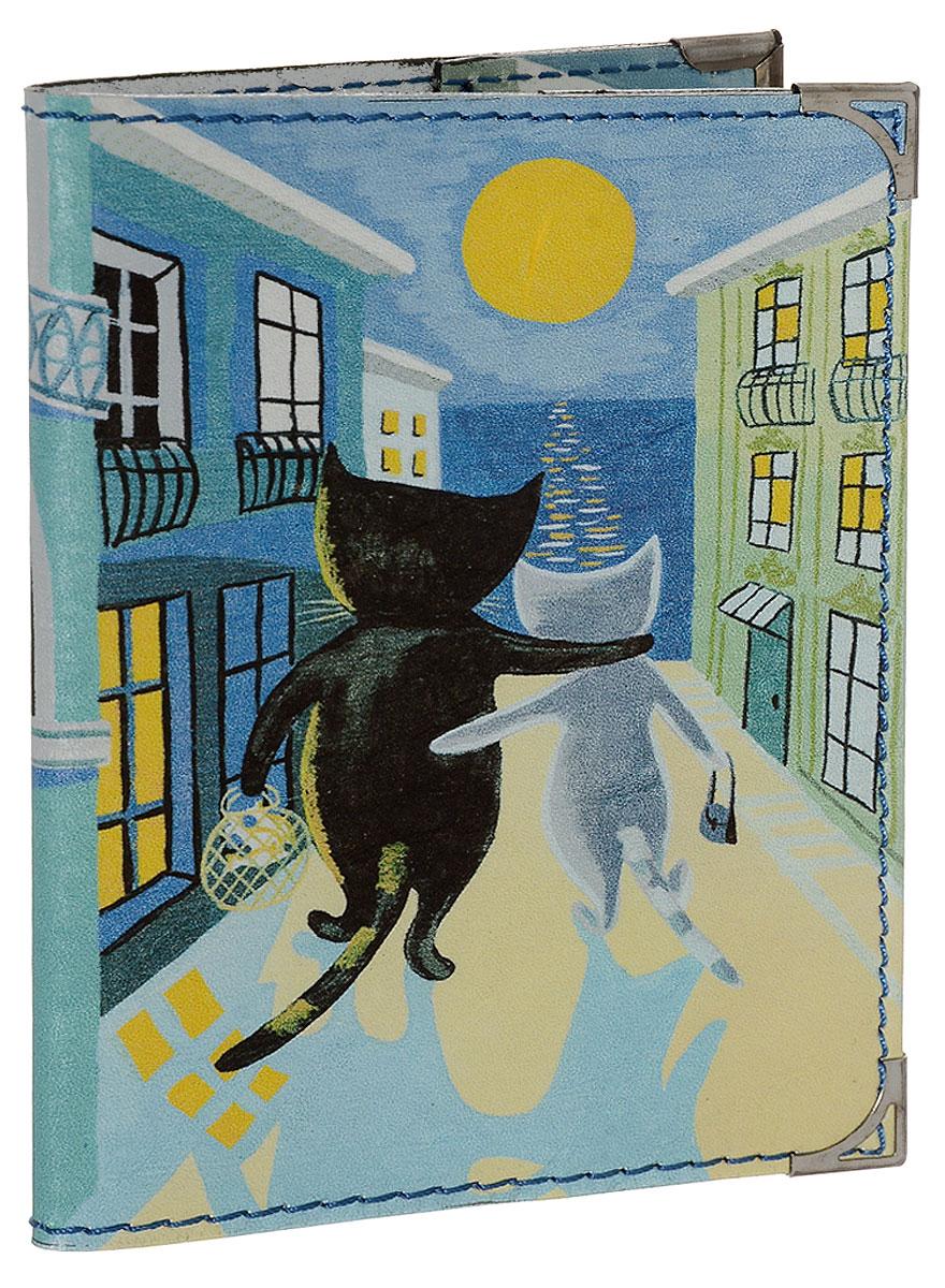 Обложка для паспорта BORЯN Лунная дорожка, цвет: синий, желтый. Авторская работа. BR504 soft little dot pattern sleeping bag kids wrap mermaid blanket