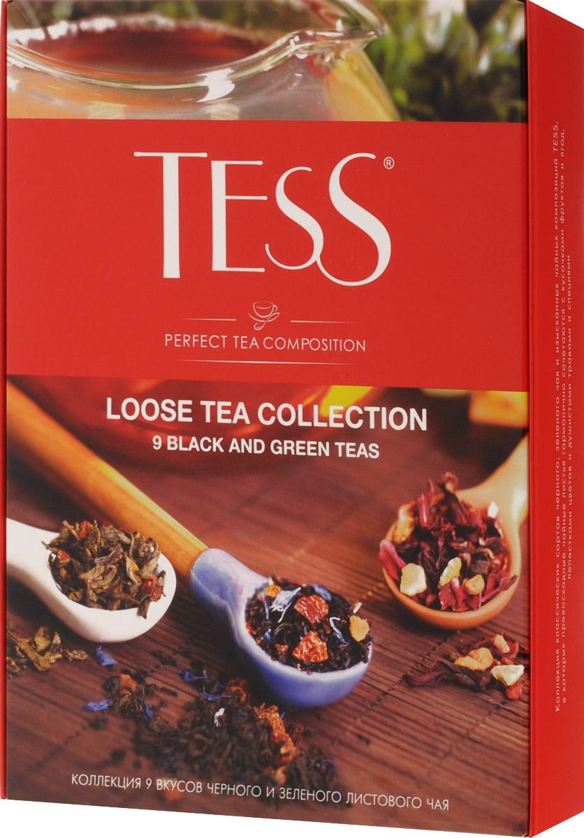 Tess Коллекция листового чая 9 видов, 350 г1183-12Ценность чая определяется многими обстоятельствами - местом и временем сбора чайного листа, особенностями его обработки и свежестью, оригинальностью и полнотой природного вкусового букета.В коллекции листового чая Tess вы найдете классические сорта черного и зеленого чая, выращенные на самых известных плантациях Цейлона, Индии и Китая, и изысканные композиции, в которых высококачественные чайные листья гармонично сочетаются с натуральными фруктами, я годами, лепестками цветов и душистыми травами. Самобытные и индивидуальные купажи чая Tess покоряют множеством оттенков и полутонов, которые хорошо слышны в идеально выверенной вкусовой гамме.Каждый купаж в коллекции листового чая Tess - это великолепный пример сочетания многовековых чайных традиций, новаторского стиля и вдохновенной импровизации в составлении чайных композиций.В состав набора входят следующие сорта чая:Tess Sunrise (черный байховый цейлонский крупнолистовой), 25 гTess Ceylon (черный байховый цейлонский высокогорный), 40 гTess Pleasure (черный байховый с ароматом тропических фруктов и растительными компонентами), 40 гTess Orange (черный байховый с ароматом апельсина и растительными компонентами), 40 гTess Thyme (черный байховый с ароматом лимона и чабреца и растительными компонентами), 40 гTess Goldberry (черный байховый с ароматом облепихи и айвы и растительными компонентами), 40 гTess Style (зеленый байховый крупнолистовой), 45 гTess Lime (зеленый байховый с ароматом лайма и растительными компонентами), 40 гTess Flirt (зеленый байховый с ароматом белого персика и клубники и растительными компонентами), 40 гВсё о чае: сорта, факты, советы по выбору и употреблению. Статья OZON Гид