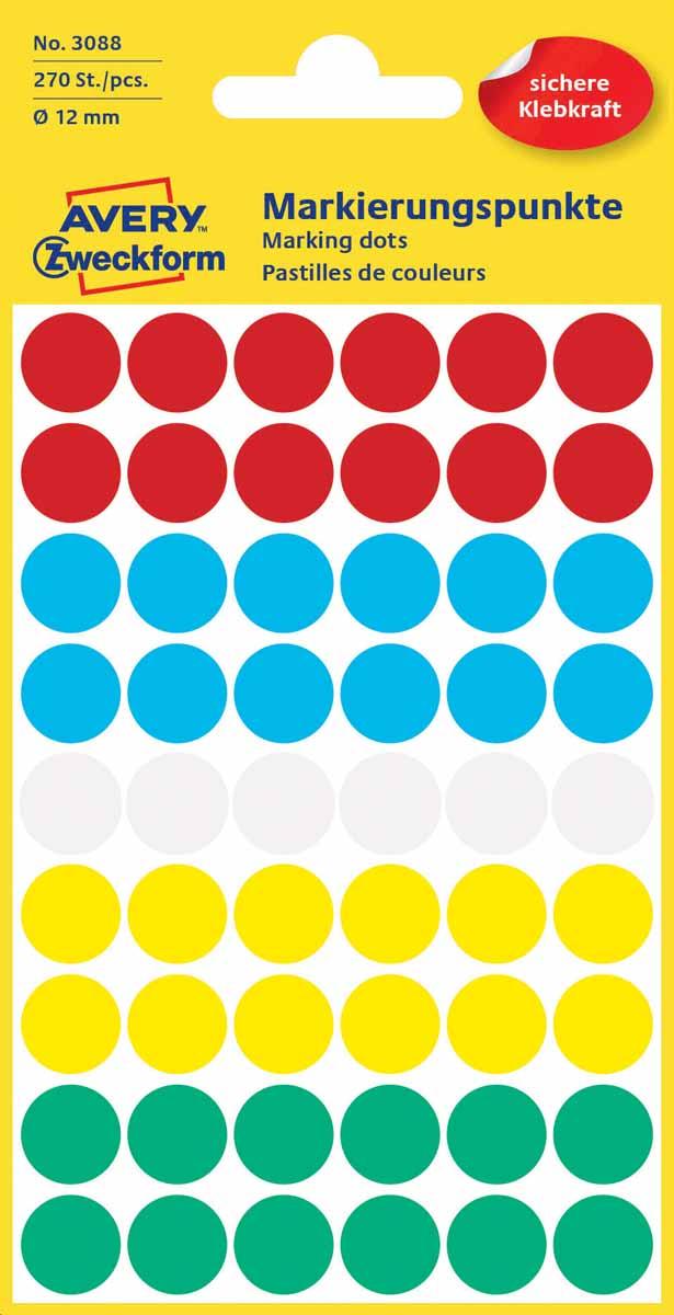 Avery Zweckform Этикетки круглые диаметр 12 мм 270 шт3088Круглые этикетки-точки Avery Zweckform идеальны для пометок и выделения важной информации и напоминаний. Представлены в виде разноцветных(белых, красных, синих, зеленых, желтых) круглых точек диаметром 12 мм.Круглые этикетки удобны для выделения выходных дней и отпусков в календаре, для отметок в рабочем планнинге, на картах.