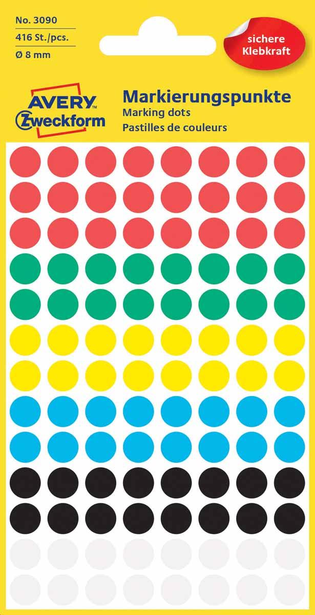 Avery Zweckform Этикетки круглые диаметр 8 мм 416 шт3090Круглые этикетки-точки идеальны для пометок и выделения важной информации и напоминаний. Представлены в виде разноцветных(белых,черных,красных,синих,зеленых и желтых) круглых точек диаметром 8мм. Круглые этикетки удобны для выделения выходных дней и отпусков вкалендаре, для отметок в рабочем планнинге, на картах.Тип клеящейся поверхности: перманентные Цвет: разноцветные Диаметр: 8мм Этикеток в упаковке: 416 Форма: круглая