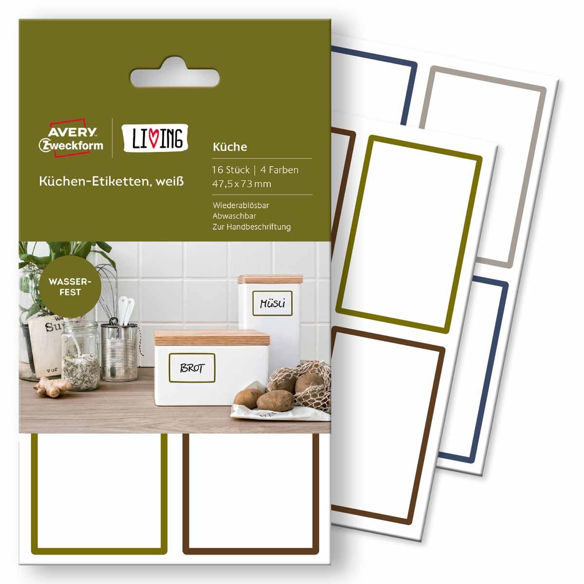 Avery Zweckform Этикетки для кухни Living 47,5 х 73 мм avery zweckform этикетки самоклеящиеся европа 100 52 5 х 29 7 мм 18 листов