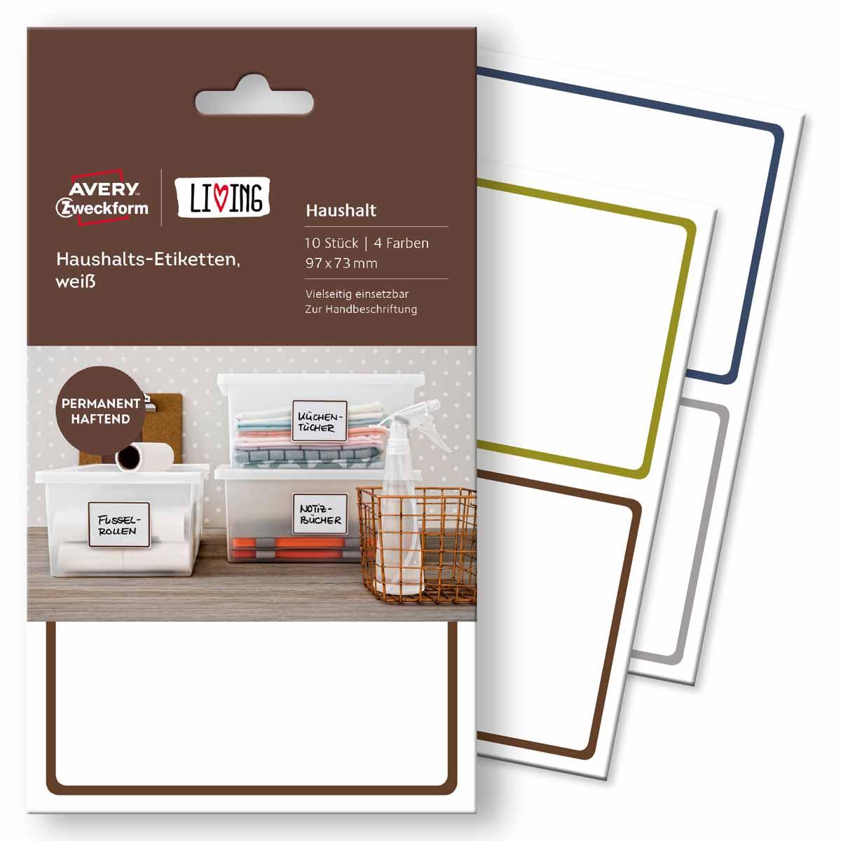 Avery Zweckform Этикетки для дома Living 97 х 73 мм avery zweckform этикетки самоклеящиеся европа 100 52 5 х 29 7 мм 18 листов