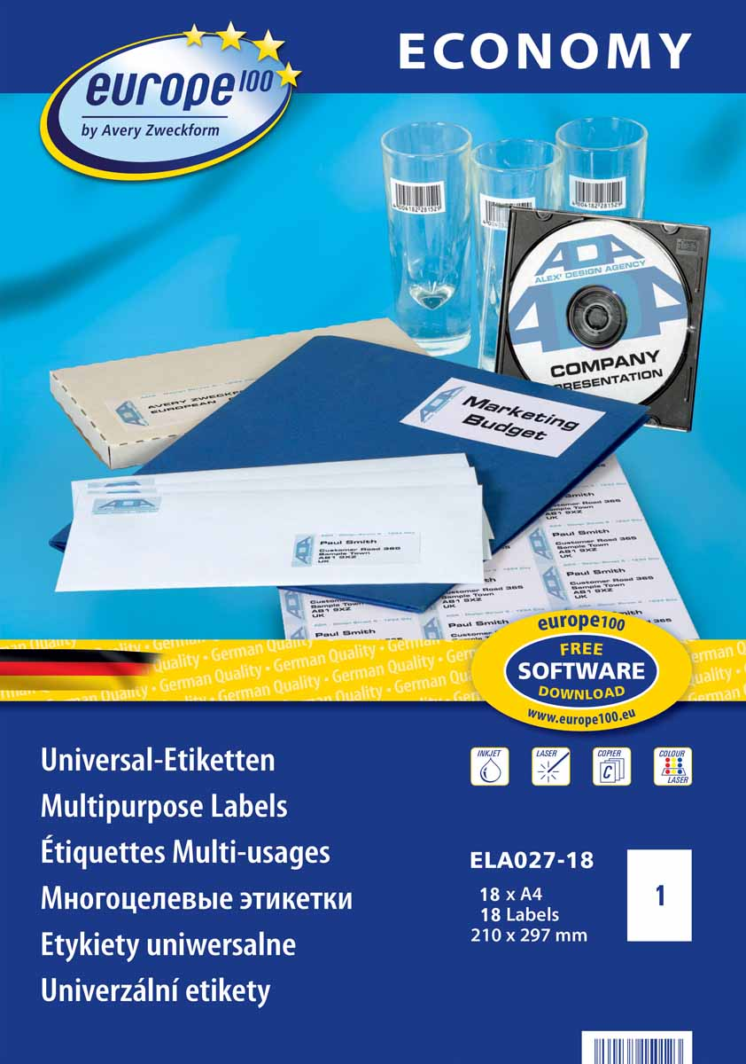 avery zweckform l6013 Avery Zweckform Этикетки самоклеящиеся Европа-100 210 х 297 мм 18 листов