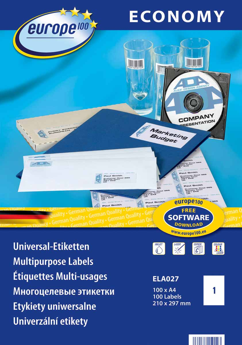 avery zweckform l6013 Avery Zweckform Этикетки самоклеящиеся Европа-100 210 х 297 мм 100 листов