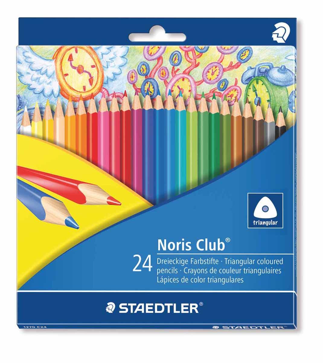 Staedtler Набор цветных карандашей Noris Club 24 цвета1270C24Цветные карандаши Staedtler Noris Club помогут маленькому художнику создавать настоящие произведения искусства.Набор состоит из 24 самых разных насыщенных цветов.Изделия имеют прочный грифель и удобную шестигранную форму, которая позволяет легко их затачивать.Такие карандаши будет незаменимы в процессе обучения и для детского творчества.Набор упакован в яркую коробочку с оригинальным дизайном.
