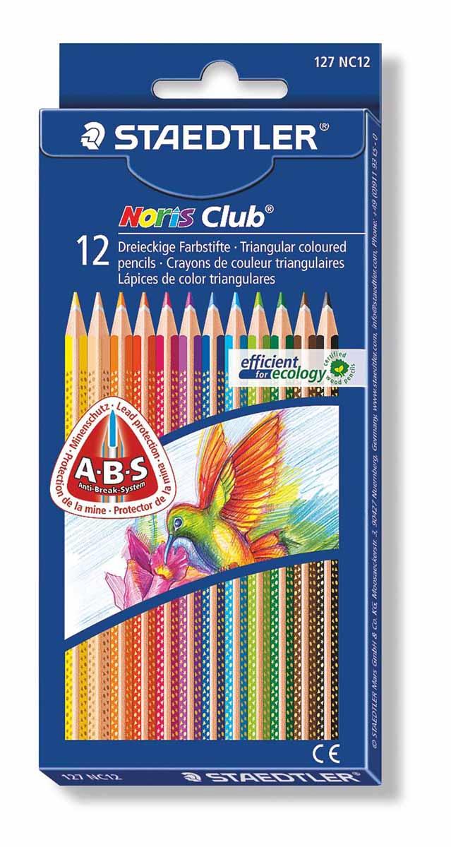 Staedtler Набор цветных карандашей Noris Club 12 цветов185C24Цветные карандаши Staedtler Noris Club обладают классической трехгранной формой. Разработанные специально для детей, они имеют мягкий грифель и насыщенные цвета, а белое защитное покрытие грифеля (А·B·S) делает его более устойчивым к повреждению.С цветными карандашами Noris Club ваши дети будут создавать яркие и запоминающиеся рисунки.