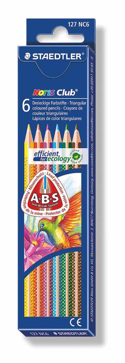 Staedtler Набор цветных карандашей Noris Club 6 цветов127NC6Цветные карандаши Staedtler Noris Club обладают классической трехгранной формой. Разработанные специально для детей, они имеют мягкий грифель и насыщенные цвета, а белое защитное покрытие грифеля (А·B·S) делает его более устойчивым к повреждению.С цветными карандашами Noris Club ваши дети будут создавать яркие и запоминающиеся рисунки.