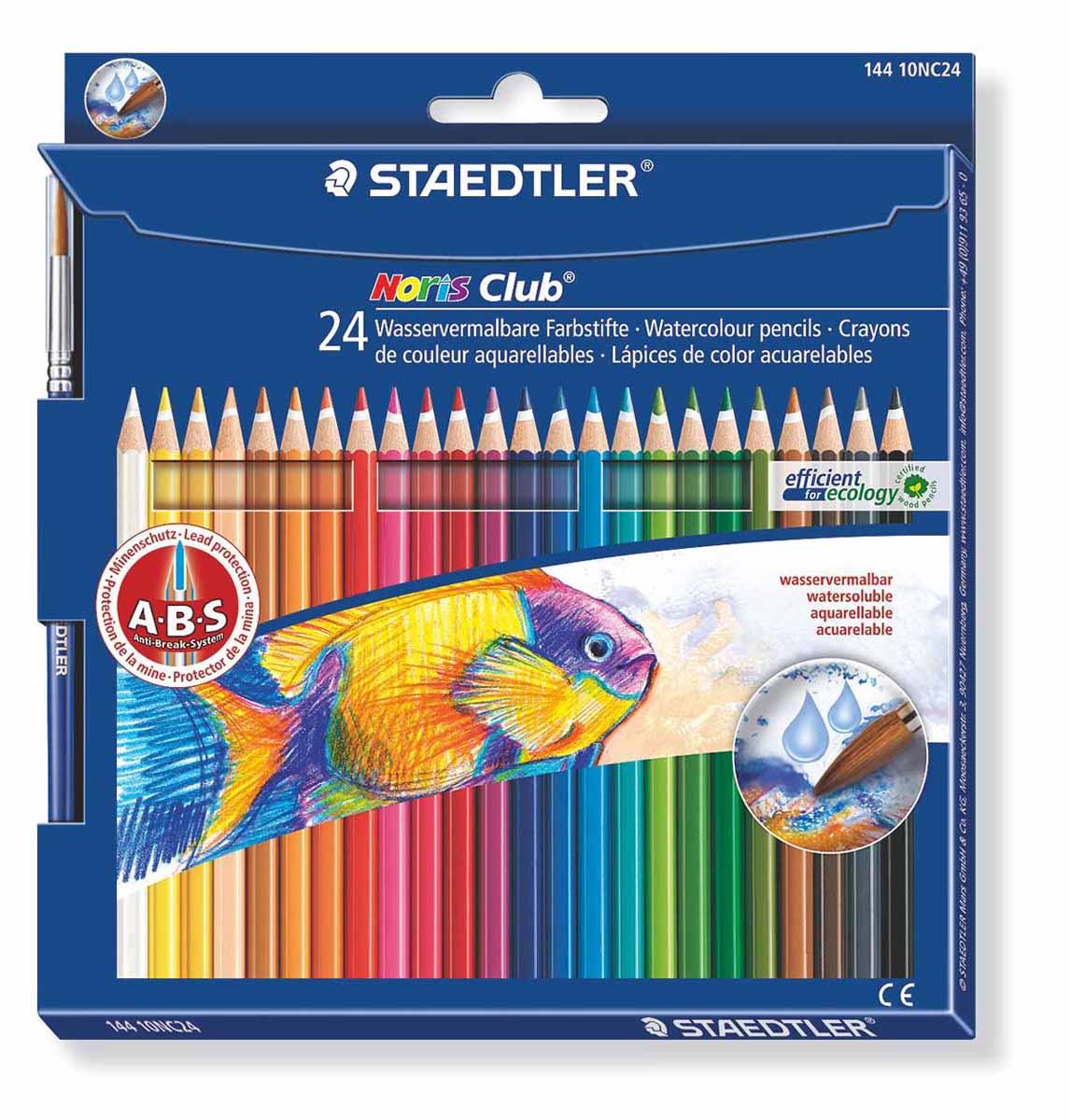 Staedtler Набор акварельных карандашей Noris Club с кисточкой 24 цвета14410NC24Набор цветных карандашей Staedtler Noris Club предназначен для школы и творческих мастерских.Хорошо размываются водой.Цвета легко смешиваются между собой, можно получить практически любой оттенок, при желании добившись нежного эффекта акварели.Интересный эффект достигается, когда рисунок наносится на предварительно смоченный картон или бумагу.Карандаши шестигранной формы, корпус выполнен из натурального дерева. Грифель, даже при падении карандаша, не ломается, так как надежно защищен системой ABS (anti breakage system) - дополнительным белым слоем.В комплекте идет кисточка с защитным колпачком.Акварельные карандаши соответствуют всем европейским стандартам.