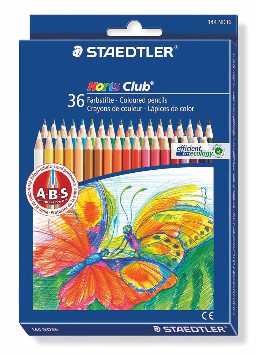 Staedtler Набор цветных карандашей Noris Club 36 шт144ND36Цветные карандаши с ABS системой.Грифель не ломается и не крошится при заточке. Корпус карандашей выполнен из сертифицированной особо прочной древесины.В наборе 36 карандашей ярких насыщенных цветов.Уважаемые клиенты! Обращаем ваше внимание на то, что упаковка может иметь несколько видов дизайна. Поставка осуществляется в зависимости от наличия на складе.