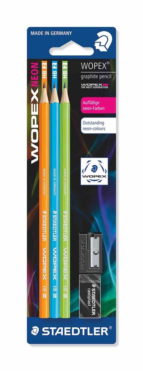 Staedtler Набор чернографитовых карандашей Wopex NEON HB 3 шт 180FSBK3-2180FSBK3-2Набор высококачественных чернографитовых карандашей Staedtler Neon изготовленных из уникального материала Wopex, который на 70% состоит из древесины.Отличаются особой прочностью, устойчивы к поломкам и имеют ударопрочный грифель.Шестигранный корпус мягкий и бархатистый на ощупь, карандаш не скользит в руке.
