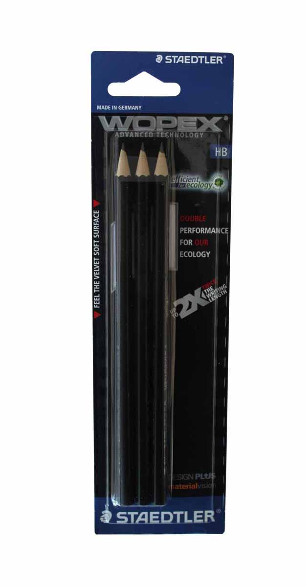 Staedtler Набор чернографитных карандашей Wopex 3 шт180HB-9BK3Набор высококачественных чернографитных карандашей Staedtler Wopex шестигранной формы.Карандаши из уникального материала Wopex, который на 70% состоит из древесины. Карандаши отличаются особой прочностью, устойчивы к поломкам и имеют ударопрочный грифель.Шестигранный корпус мягкий и бархатистый на ощупь, карандаш не скользит в руке.В наборе 3 карандаша с ластиками.