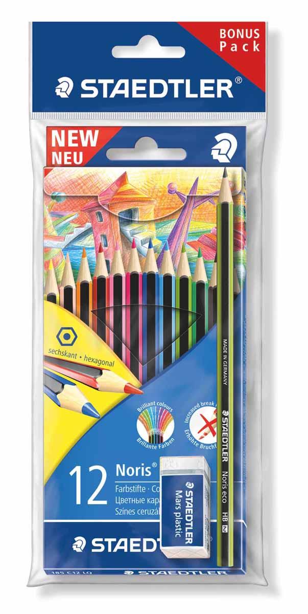Staedtler Набор цветных карандашей Wopex 12 цветов с чернографитным карандашом 180 30-НВ и ластиком staedtler карандаши цветные ergosoft 36 цветов staedtler