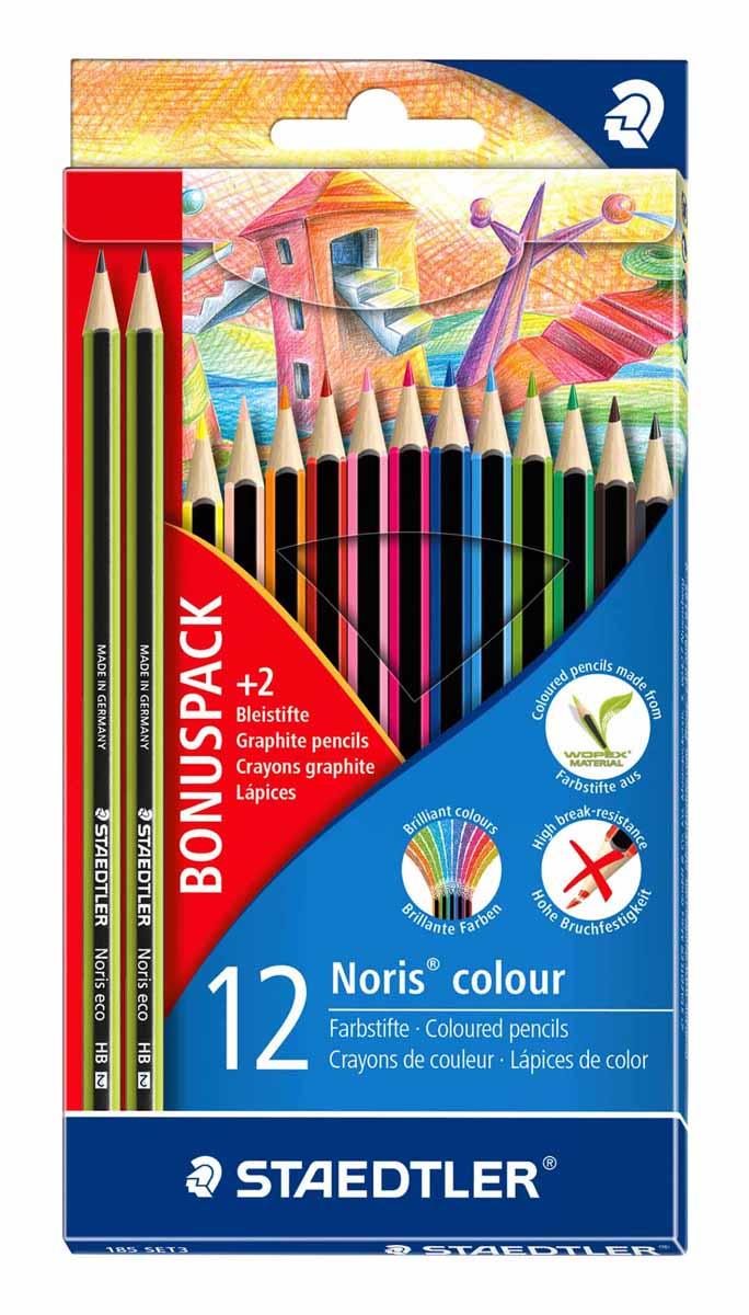 Staedtler Набор цветных карандашей Noris colour 12 цветов с 2 чернографитными карандашами185SET3LQНовый набор Staedtler Noris colourпредназначены для рисования. Набор содержит 12 цветных карандашей и 2чернографитных карандаша твердостью - HB. Цветные карандаши, разработанные специально для детей, имеют мягкий грифель и насыщенные цвета. С цветными карандашами Noris Club ваши дети будут создавать яркие и запоминающиеся рисунки.