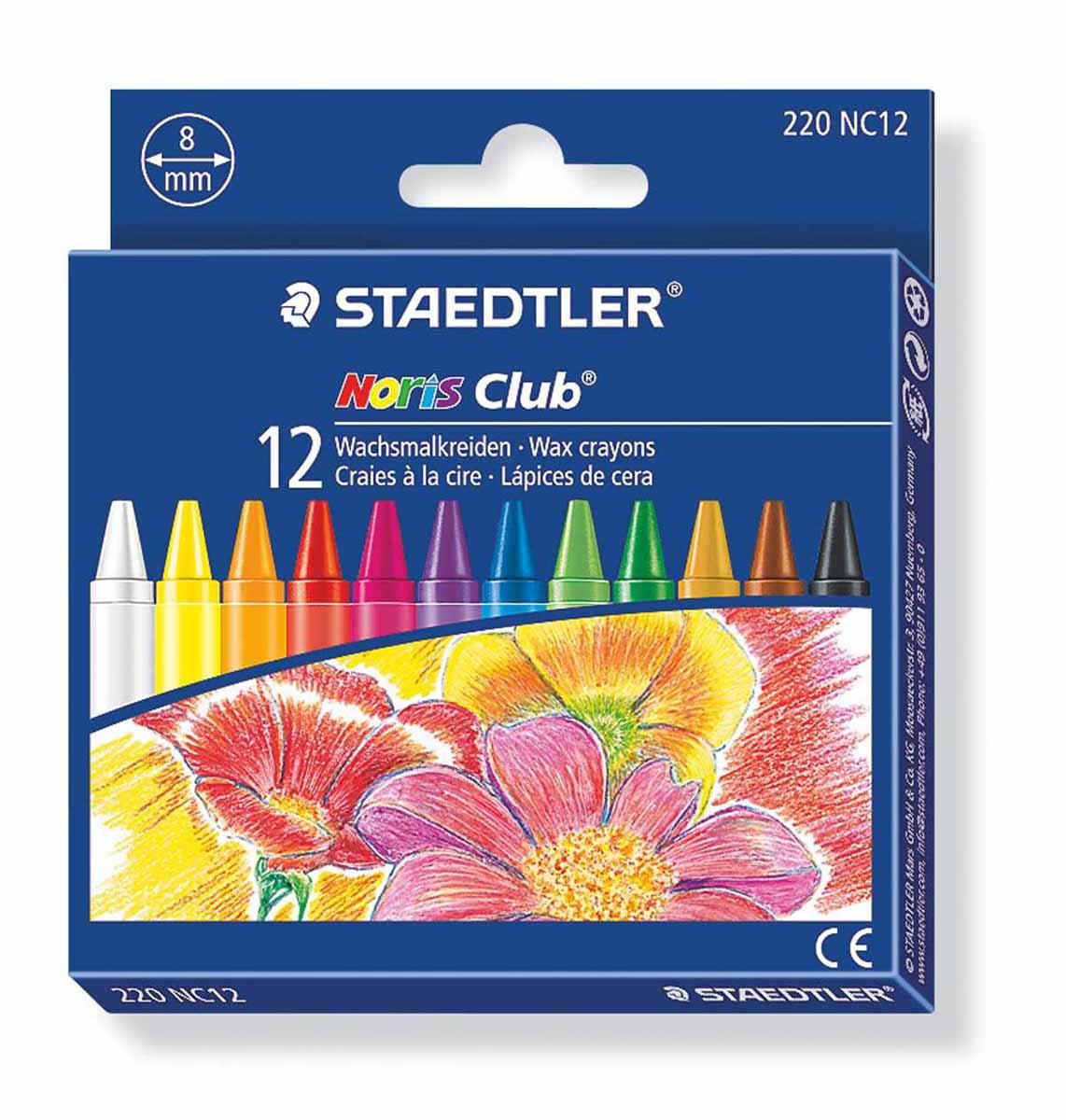Staedtler Набор восковых мелков Noris Club 12 цветов220NC1203Набор восковых мелков Staedtler Noris Club содержит 12 ярких насыщенных цветов и оттенков. Мелки предназначены для рисования по бумаге, картону, стеклу, керамике, пластику. Не токсичны и абсолютно безопасны.Каждый мелок обернут в бумажную гильзу. Диаметр каждого мелка - 8 мм.