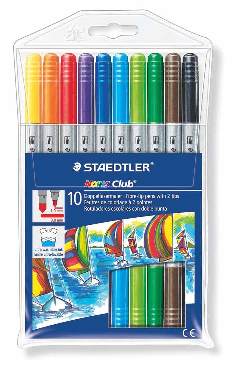 Staedtler Набор двухсторонних фломастеров Noris Club 10 цветов320NWP10Набор фломастеров двусторонних Noris Club Staedtler содержит 10 цветов в ассортименте. Толщина линии тонкого пишущего узла приблизительно 1,0 мм, толщина линии широкого пишущего узла приблизительно 3,0 мм. Широкий выбор возможностей для рисования.