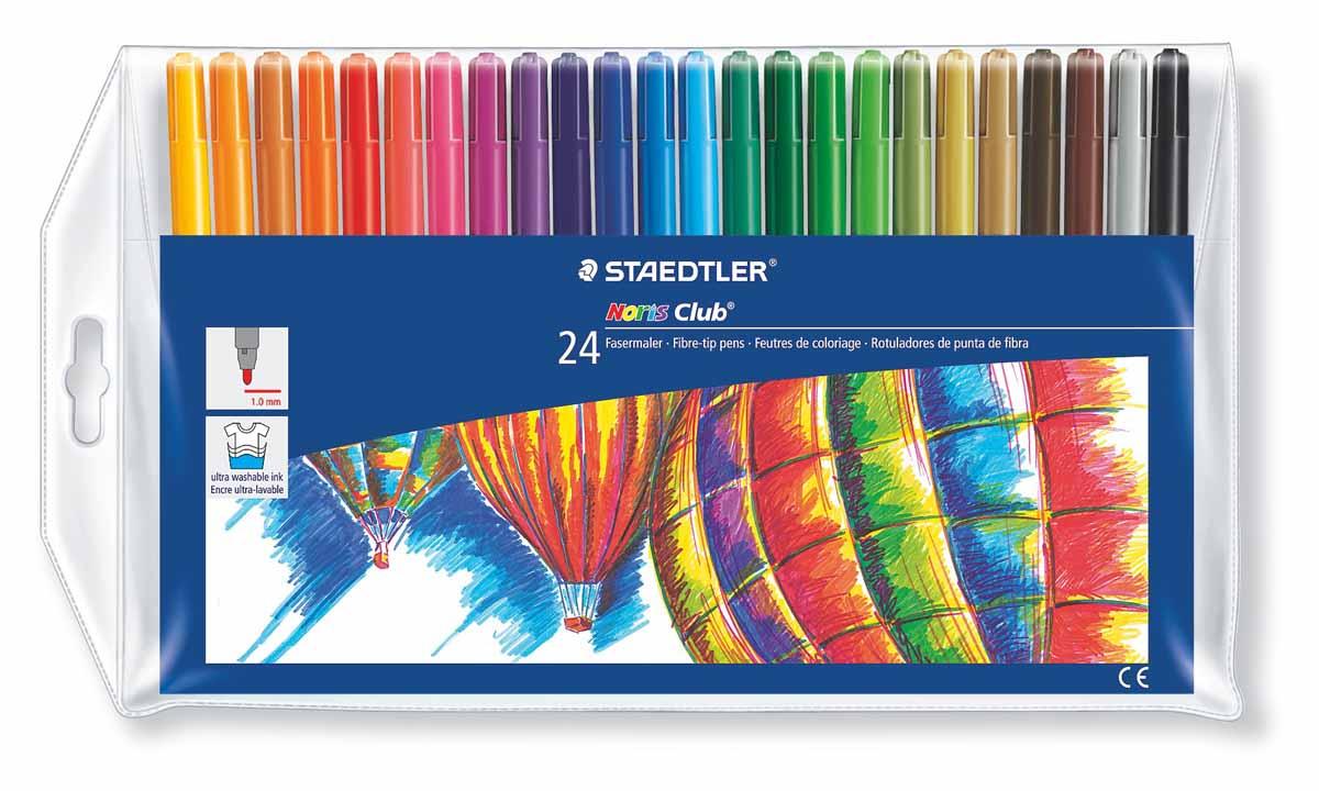Staedtler Набор фломастеров Noris Club 24 цвета325WP24Набор Staedtler Noris Club предназначен для маленьких и любознательных малышей. Он включает в себя 24 уникальных разноцветных фломастера.Грифель каждого изделия снабжен устойчивым к сильному нажатию пишущим узлом.Рисование развивает усидчивость, фантазию, образное восприятие и логическое мышление.Кроме того, у ребенка тренируется зрительная координация и мелкая моторика рук.Толщина линии 1 мм.